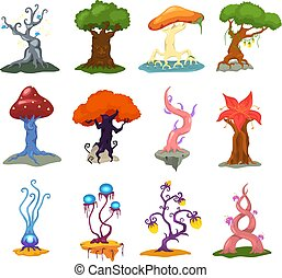 Magic tree vector fantasy forest with cartoon treetops and magical plants or fairy flowers illustration forestry flowering set of colorful mystery oak isolated on white background
