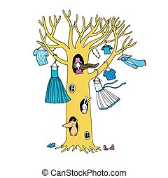 Magic tree with clothes.