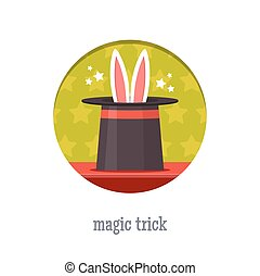 Magic trick icon. Rabbit in a magic hat. Flat style vector...