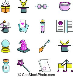 Magic trick icons set, cartoon style