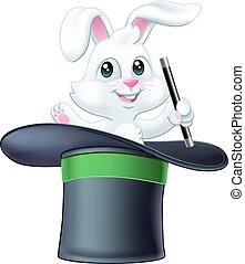Magic Trick Magician Top Hat Rabbit Holding Wand
