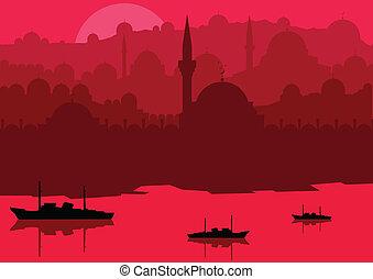 Magic Turkish city Istanbul landscape vector