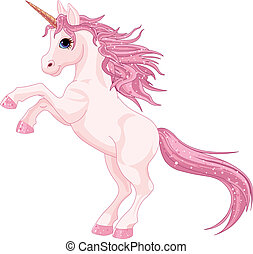 Cartoon magic unicorn rearing up