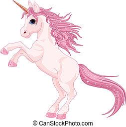 Cartoon magic unicorn rearing up