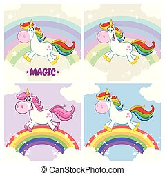 Magic Unicorn Cartoon Mascot Character Set 2. Collection