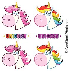 Magic Unicorn Head Cartoon Mascot Character Set. Vector Collection