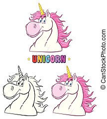Magic Unicorn Head Classic Cartoon Character Set. Collection