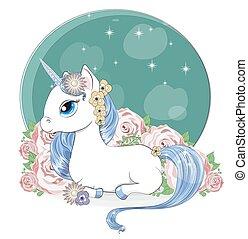 magic unicorn in flower garden