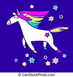 Magic unicorn in the starry sky vector