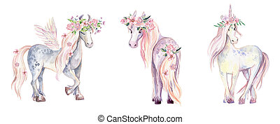 Magic Unicorn, Pegasus and Pony. Watercolor illustration, beautiful isolated pony with flowers. Romantic pastel colors.