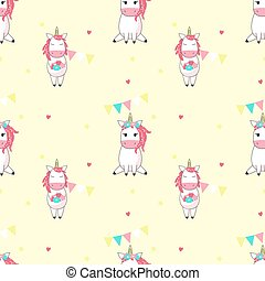 Magic unicorn vector seamless pattern