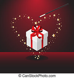 Magic valentine wand - Vector - Magic wand forming bright...
