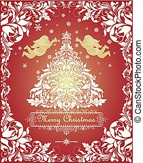Magic vintage Christmas greeting card with cut out floral xmas white tree, gold angels and decorative floral frame