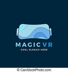 Magic Virtual Reality Abstract Vector Illustration, Icon, Sign, or Logo Template. Electronic Glasses Headset Silhouette with Blue Waves.
