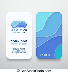 Magic Virtual Reality Abstract Vector Sign or Logo and Business Card Template. Premium Stationary Realistic Mock Up. Electronic Glasses Headset Silhouette with Blue Waves.