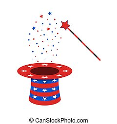 Magic wand and hat. Vector illustration - Magic hat and ...