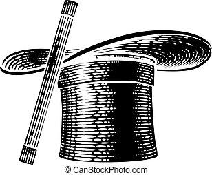 Magic Wand And Magician Top Hat Woodcut Drawing