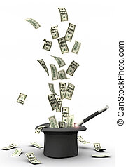 American dollars blanching from a magic hat - 3d render