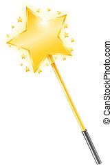 Magic Wand - Golden magic wand with stars, vector eps10...