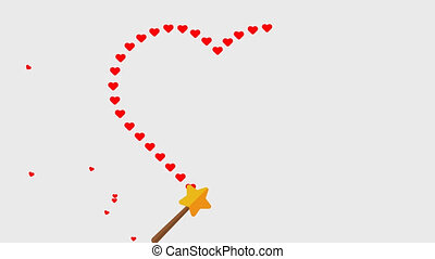 Magic wand drawn Heart with transparent background