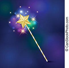 Magic wand - Golden fairy tale magic wand with glittering...