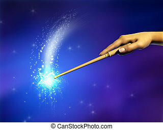 Magic wand - Female hand using a magical wand. Digital...