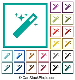 Magic wand flat color icons with quadrant frames