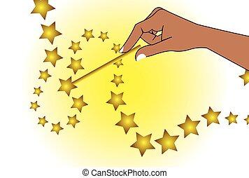 Magic wand holding hand vector illustration.