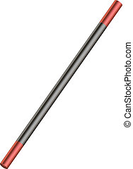 Magic wand in black and red design on white background