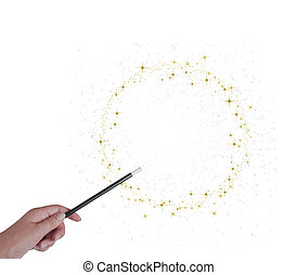Magic wand in hand, circle or ring of golden stars and ...