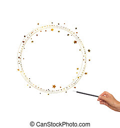 Magic wand in hand with gold stars, circles for frame, border. White background.