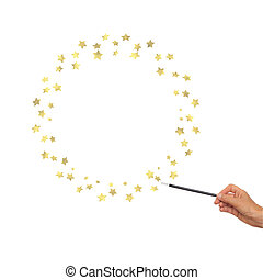 Magic wand in hand with gold stars for frame, border. White background.