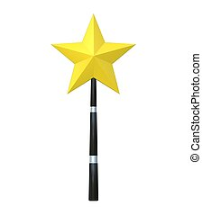 Magic wand isolated on white background, 3D render illustration