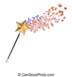 Magic wand isolated on white background. 3d render