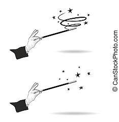 magic wand - effective magic trick with hands in gloves and...