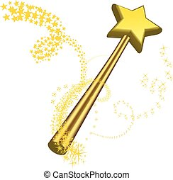 Magic wand vector illustration on white - Magic wand vector...