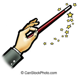Magic wand - White background - Illustration of a magic wand...
