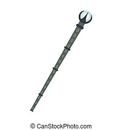 Magic wand with blue crystal flat icon isolated on white...