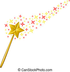 Magic wand with coloured stars on white background