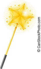 Magic Wand with Golden Star - Magic wand with golden star on...