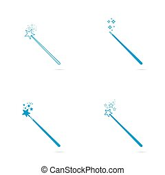 Magic wand with stars and sparkles.