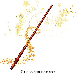 Magic wand with stars on white background
