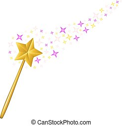 Magic wand with stream of stars on white background
