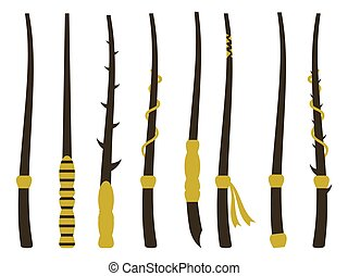 Magic wands. Magic and magical objects. Wizard tool. Vector illustration.