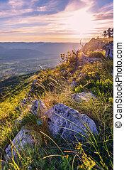 Magic warm sunset landscape high in the Croatia mountains