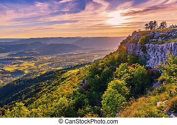 Magic warm sunset landscape in Croatia mountains
