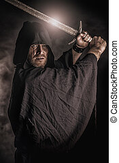 magic warrior - Portrait of a courageous warrior wanderer in...