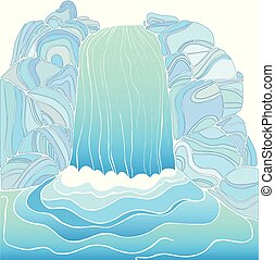 Magic waterfall color page. Pattern isolated. Cartoon...