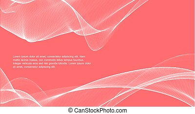 Magic wave color background. Living coral, the color of the year. Awesome white lines over pink background.