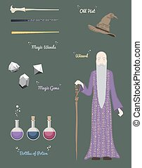 Magic Wizard with stones and things magical,crystal ball , wands, hatvector illustration.